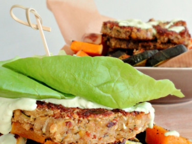 Veggie burgers and grilled vegetables