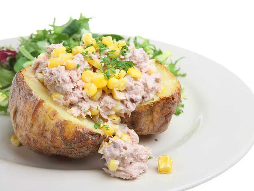 Baked Potato With Tuna Sweetcorn Red Onion Mayo